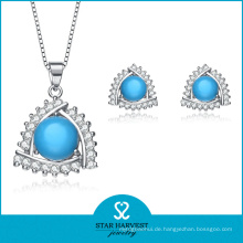 Einfache Türkis Sterling Silber Halskette und Ohrringe (J-0141)