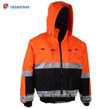 Venta al por mayor invierno Hi Vis Workwear Hoodie Excelente calidad ANSI Class 3 alta visibilidad reflexivo trabajo Safety Vest Chaqueta
