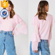 Милый розовый Раффлед длинным рукавом Воланом летние блузки Производство Оптовая продажа женской одежды (TA0047B)