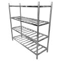 Escalera de acero inoxidable tipo estante de almacenamiento de cuatro capas