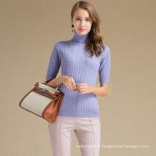 Audult Custom Pull à manches en laine de cachemire tricoté à manches mi-longues pour femmes