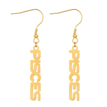 Wholesale Birthday Gift Gold Plating Stainless Steel Zodiac Letter Dangle Earring Jewelry