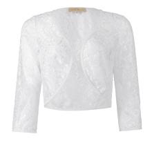 Kate Kasin Women's Three Quarter Sleeve Cropped Short Open White Lace Bolero Shrug Shawl KK000430-2