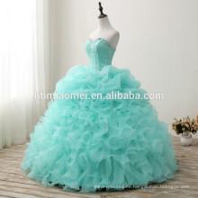 China Lieferant Custom made sleeveless geschwollenen Hochzeitskleid 2017 günstigen Preis floort Länge grüne Farbe koreanischen Stil Brautkleid