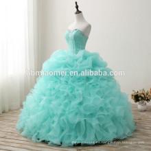 El proveedor de China por encargo hizo el vestido de boda hinchado sin mangas 2017 precio barato de la longitud del floort el color verde vestido de boda coreano del estilo