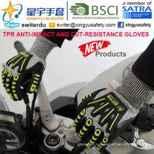 Перчатки с защитой от порезов и противокновения, 13G Hppe Shell Cut-Level 5, Sandy Nitrile с покрытием лаком, анти-ударный TPR на спине Механические перчатки