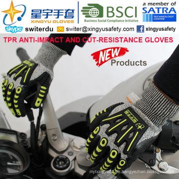 Cut-Resistance und Anti-Impact TPR Handschuhe, 13G Hppe Shell Cut-Level 5, Sandy Nitril Palm beschichtet, Anti-Impact TPR auf Back Mechanic Handschuhe