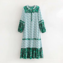 new arrival loose plain embroidery round neck women casual  dress