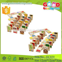 EC020 high quality beechwood wooden toys domino toys