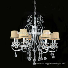 European Candle Cast Iron Chandelier Lamp with Fabric Lampshade