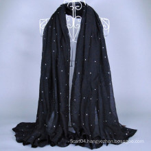 Stock cheap voile wholesale scarf with colorful rhinestone