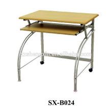Mesa de computador de metal com mesa de madeira
