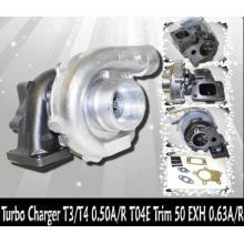 T04E T3 / T4 Turbocompressor Carcaça do compressor: A / R.50, Carcaça da turbina: A / R.84, Trim (escape): 161.90