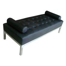 Banco negro para muebles de hotel con patas de acero inoxidable