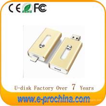 Melhor Venda de Metal de Ouro OTG USB Flash 3.0 Drive para iPhone