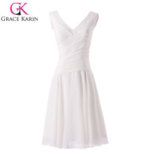 2015 New Style V-neck White Knee Length A- line Short Party Dress CL6059