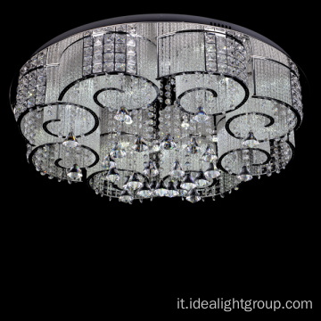 lampadario a soffitto a led cromato decorativo
