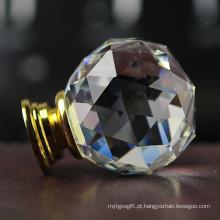 O corte do triângulo enfrenta os punhos de cristal claros transparentes da mobília do branco 40mm