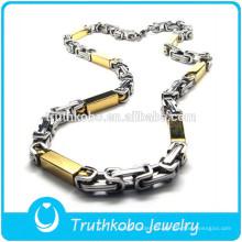 TKB-JN0046 Fashional promocional de metal de dos tonos con forma de rectángulo, collar de acero inoxidable dorado.