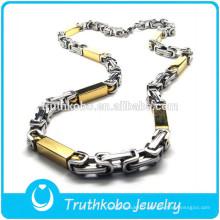 TKB-JN0046 Collier promotionnel en métal bicolore avec un collier en acier inoxydable de forme rectangle