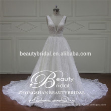 romantic v-neck and v-back bridal dress Chinese popular wholesale wedding gown