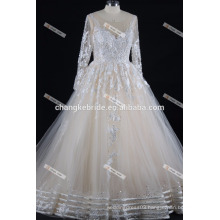 Suzhou Factory Lace Appliqued Long Sleeve Saudi Arabian Wedding Dress Ball Gown 2017