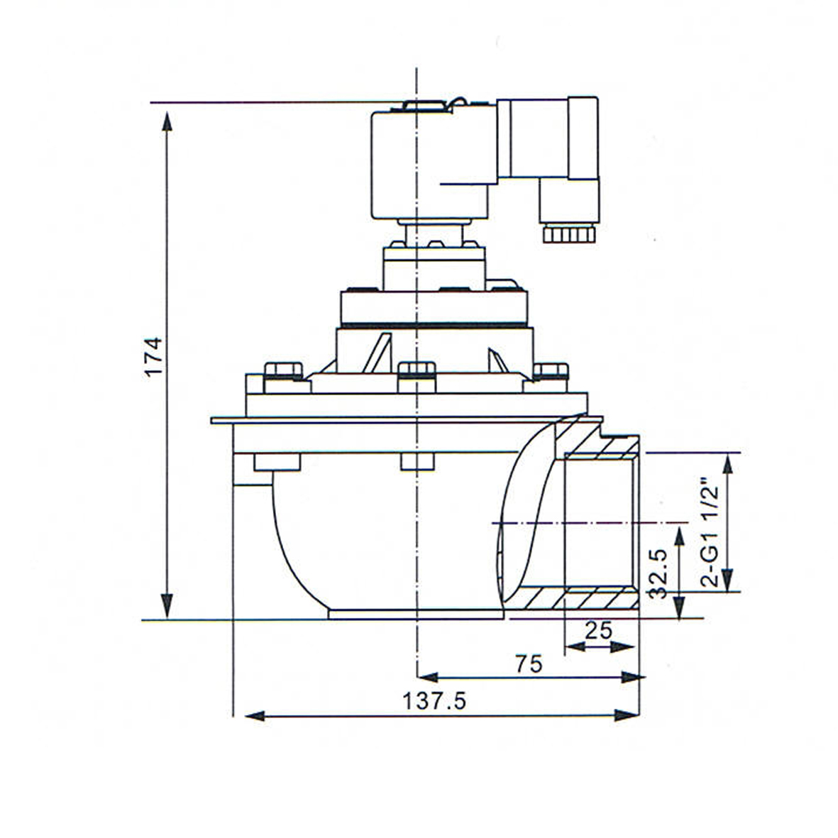 Demension Of G1-1/2'' Dust Collector Pulse Valve: