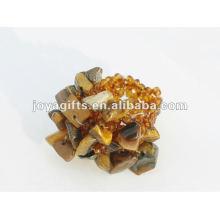 Oeil de tigre jaune Chip stone Stretch Seed Perles de verre Ring