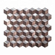 Soulscrafts Silver 3d Brown and Silver Metal Tile Rhombus Mosaic