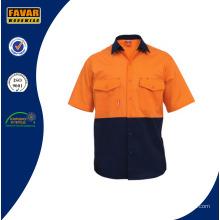 100% algodón de dos tonos para hombre camisa de manga corta camisa de trabajo