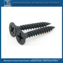 Schwarz phosphatiert C1022 Stahl Trockenbau Schraube Feingewinde