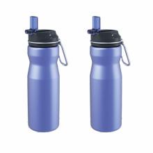 Hochwertige trinkende Edelstahl-Sport-Wasserflasche mit Strohdeckel
