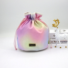 Large Capacity Colorful Rainbow Travel Toiletry Makeup Pouch Lazy Drawstring Cosmetic Bag