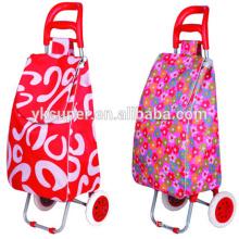 Portable folding shopping cart two wheel shopping trolley bag