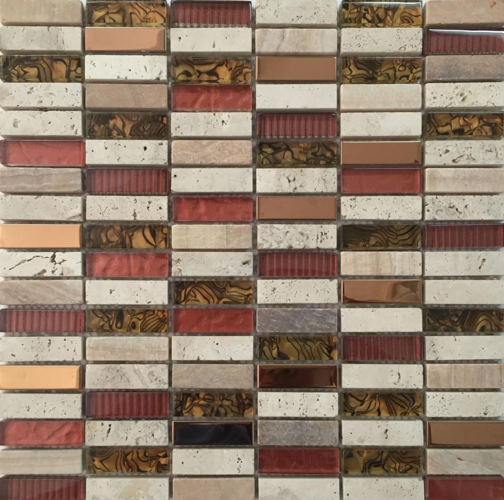 Colorful Glass Stone Mixed Wall Paving Mosaic