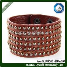 European Fashion Bracelet Design Full Diamond Leather Cuff Bracelet/Mulher