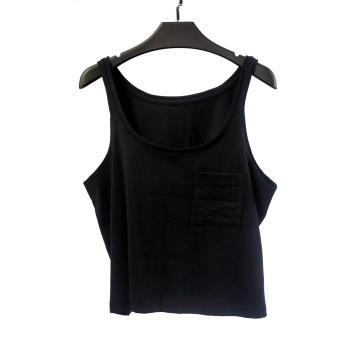 Camiseta sin mangas negra para mujer con cuello redondo grande