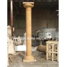 Coluna de escultura de pedra de mármore do ouro para a decoração Home (SY-C017)
