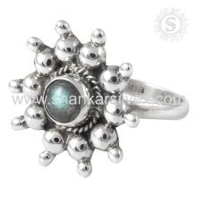Scenic Labradorit Edelstein Silber Ring Großhandel 925 Sterling Silber Schmuck Indische handgefertigte Silber Schmuck