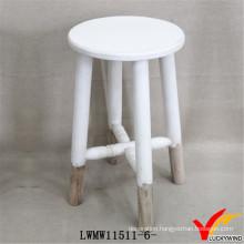 Vintage White Finish Wood Round Chair Garden Stool