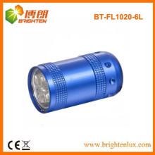 Factory Custom Made Metal 6 led petite torche à lampe torche avec porte-clés ou bracelet