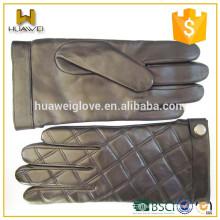 Classic Rhombus Lattice men's peau de mouton cuir gants écran tactile