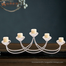 Wholesale glass flower stainless steel 5 arm wire candle holder for christmas decorations