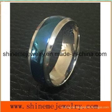 Shineme Schmucksache-Art und Weise zwischen blauem und silbernem Titanring (TR1918)