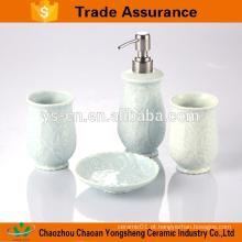Acessórios de banho de cerâmica moderna 4-pc de alívio de flores