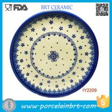 Nice Looking White Blue Pattern Ceramic Plate