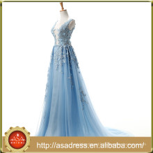 ASAE45 Blue Lace Appliqued See Through Evening Dress Tulle Real Photo Sexy Evening Gown