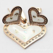Collier en coeur de mode Ensemble de bijoux en acier inoxydable pour fille