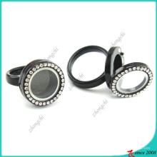 Cristal preto flutuante anel anel para meninos (lr16041205)