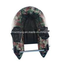 Militar, verde, cor, pequeno, inflável, bote, pesca, bote